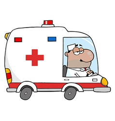 African American Doctor Driving Ambulance vector image