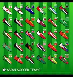 Asian soccer teams vector