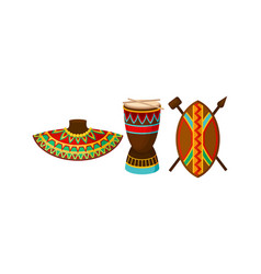 Authentic symbols africa with ornamental neck vector