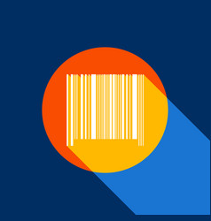 bar code sign white icon on tangelo vector image