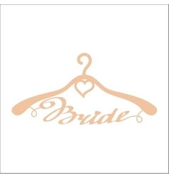 Beige wedding hangers for bride vector
