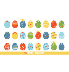 Big set collection of cartoon doodle easter eggs vector