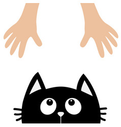Black cat head looking up to human hand cute vector