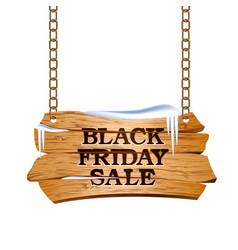 black friday sale lettering on wooden sign vector image