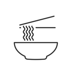 bowl noodles outline icon on white background vector image