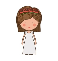 bride with crown of roses vector image