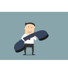 Businessman with large blue handset vector image
