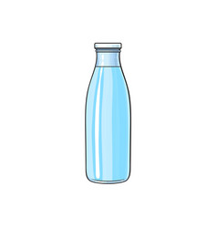 Cartoon glass bottle of cold fresh water vector