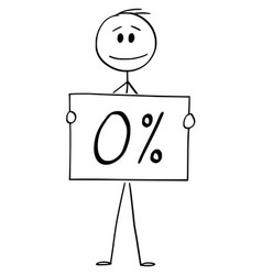Cartoon man or businessman holding 0 or zero vector