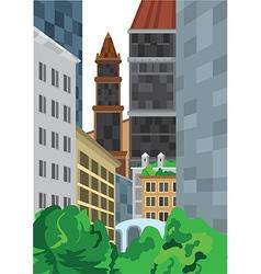 Cartoon tall buildings near green bushes vector image