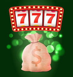 casino club slot or fruit machine and money sack vector image