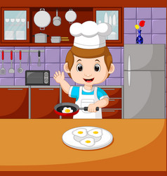 Chefs with cooking set vector