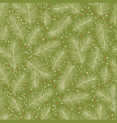 christmas seamless pattern with pine branches vector image