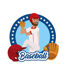 Circle sticker with baseball player and equipment vector