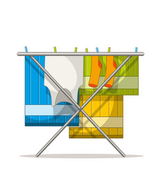 Clothes rack with laundry vector