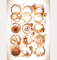 Coffee stains splashes and harts coffee se vector