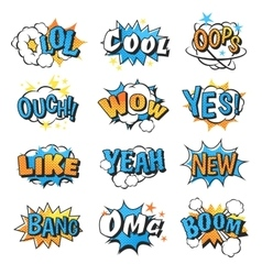 Collection of multi colored comic speech bubble vector
