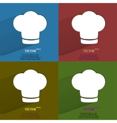 Color set Chef cap Cooking Flat modern web button vector image