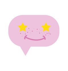 colorful smile chat bubble kawaii with stars eyes vector image