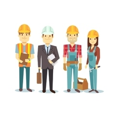 Construction workers team builder vector