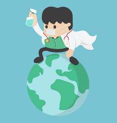 Coronavirus attack concept doctor save world stop vector
