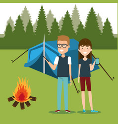 couple with smartphones in the camping zone vector image