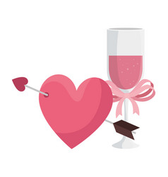 cup champagne and heart with arrow vector image