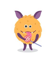 Cute monster mascot with lollipop vector