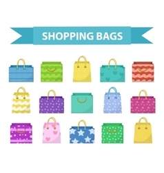 Cute shopping bag set colorful bags with vector