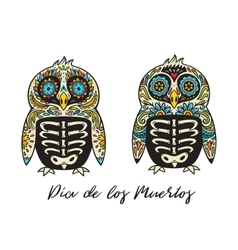 Dia De Los Muertos Greeting card with sugar skull vector