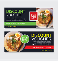 Discount gift voucher asian food template design vector