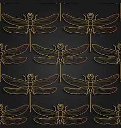 dragonfly pattern black gold pattern design vector image