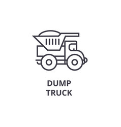 dump truck line icon sign on vector image