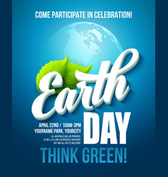 Earth Day poster with the vector