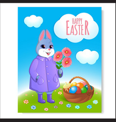 Easter bunny poster with basket-05 vector