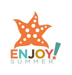 Enjoy summer template flat logotype isolated on vector