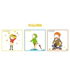 Fall season girl set vector image