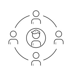 family circle line icon vector image