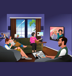 Family using technology at home during quarantine vector