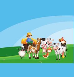 farm scene with animal farm and blank sky vector image