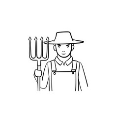 farmer with pitchfork hand drawn sketch icon vector image