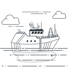 fishing vessel in sea outline vector image
