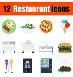 Flat design restaurant icon set vector