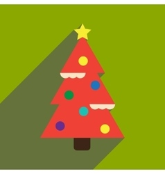Flat icon with long shadow Christmas tree vector