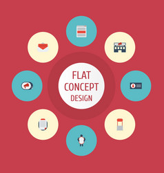 Flat icons social media ads building man with vector