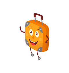 Flat travel bag suitcase character thumb up vector