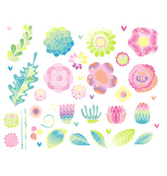Floral hand drawn set flower elements vector