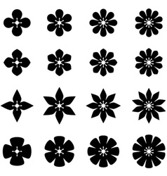 Flower black white symbols vector