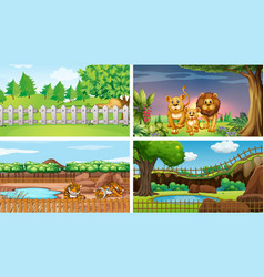 Four scenes parks with animals vector