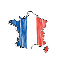 France map and flag in sketch hand vector